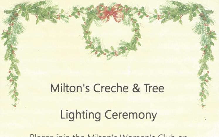 Milton's Creche & Tree Lighting Ceremony, November 29th at 4:00pm